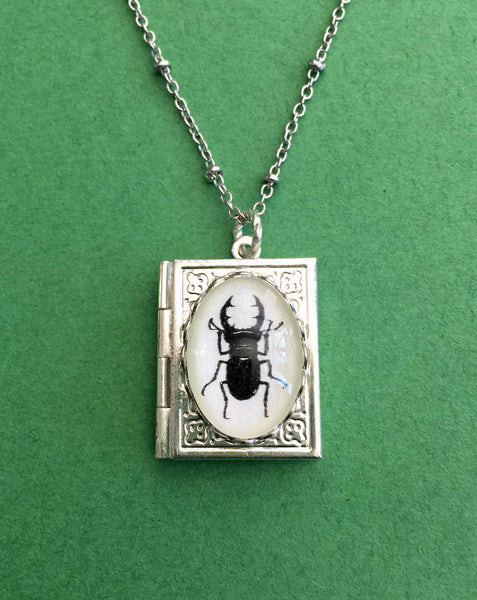STAG BEETLE Book Locket Necklace, pendant on chain - Silhouette Jewelry