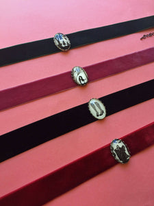 RIBBON CHOKER / Velvet - Choose Color and Image - Silhouette Jewelry