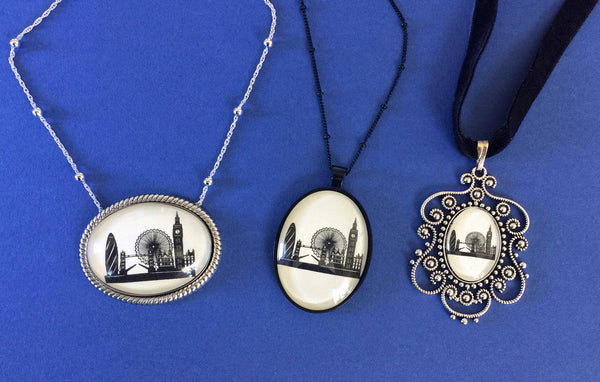 LONDON Silhouette Necklace, pendant on chain - Silhouette Jewelry
