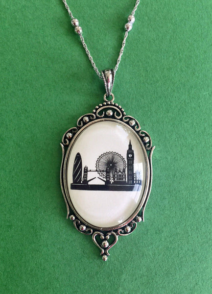 LONDON Silhouette Necklace - pendant on chain - Silhouette Jewelry