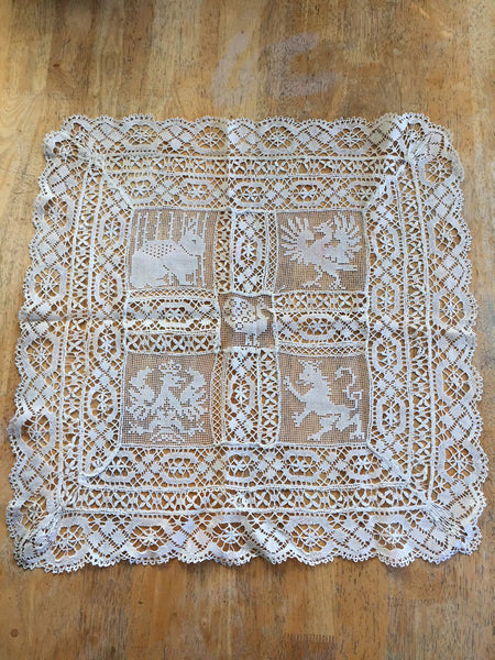 Vintage Crocheted Table Topper Runner White Animals Rare 1930s
