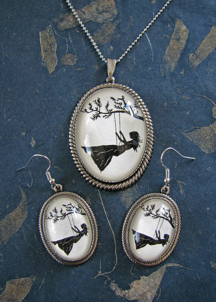GIRL on a SWING Earring-Necklace Set - Silhouette Jewelry