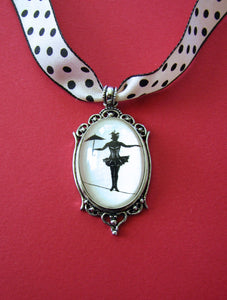 ELVIRA on a TIGHTROPE Choker Necklace, pendant on ribbon - Silhouette Jewelry