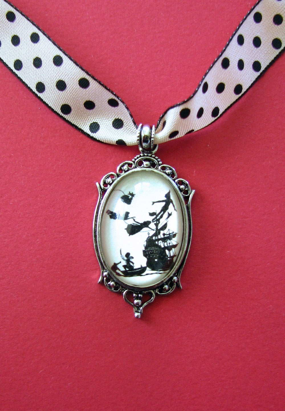 PETER PAN Choker Necklace, pendant on ribbon - Silhouette Jewelry
