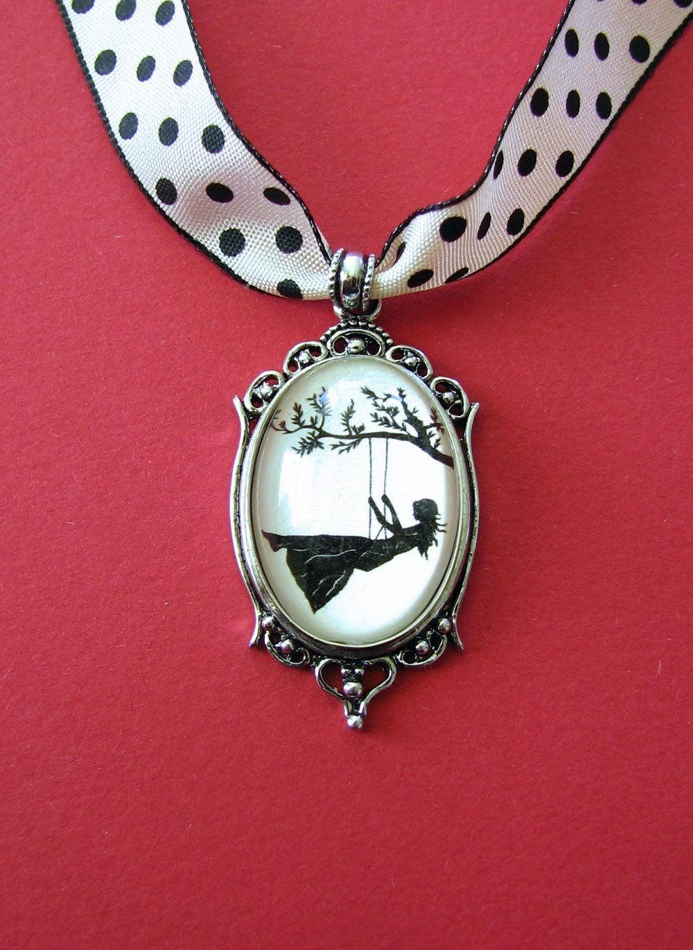 GIRL on a SWING Choker Necklace, pendant on ribbon - Silhouette Jewelry