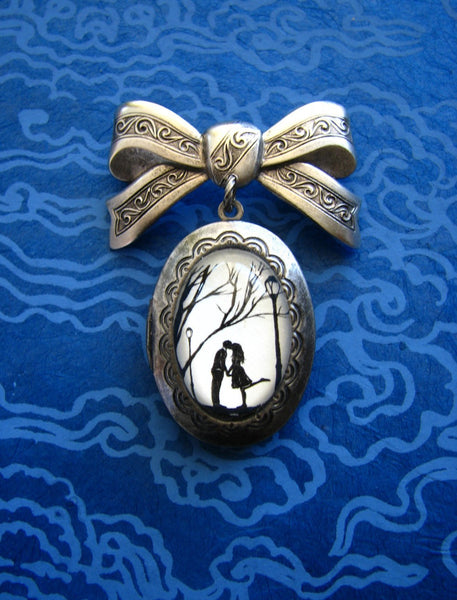 Autumn Kiss Brooch - locket pendant on bow pin - Silhouette Jewelry