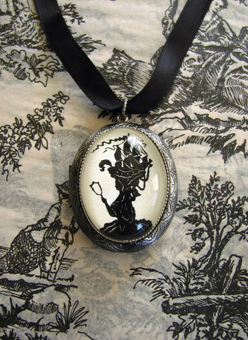 MARIE ANTOINETTE Locket Necklace - locket pendant on ribbon - Silhouette Jewelry