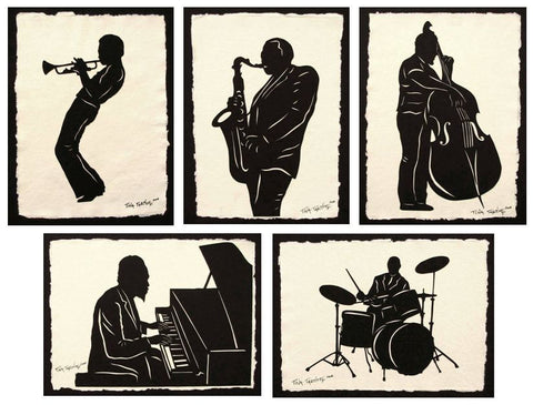 JAZZ GIANTS Papercuts - 5 Hand-Cut Silhouettes