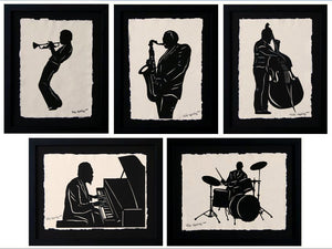 JAZZ GIANTS Papercuts - 5 Hand-Cut Silhouettes, Individually Framed