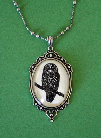 OWL Necklace, pendant on chain - Silhouette Jewelry