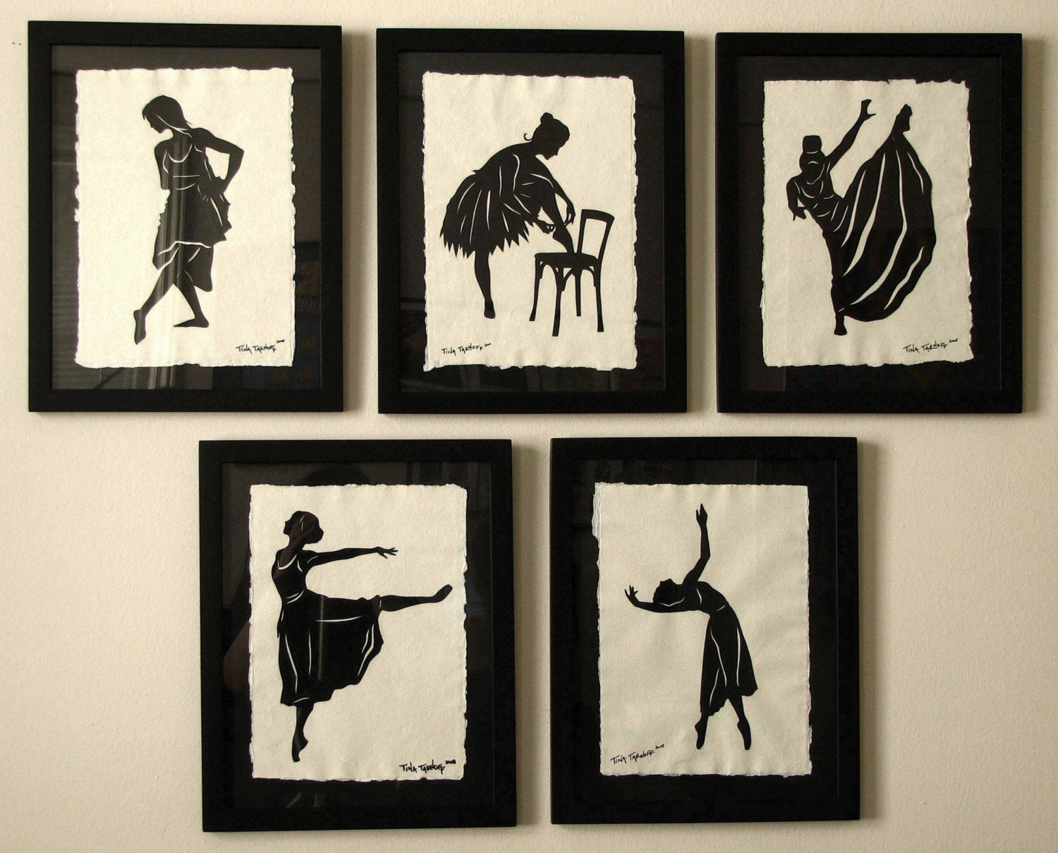 BALLET DANCERS Papercuts, 5 Hand-Cut Silhouettes, Individually Framed