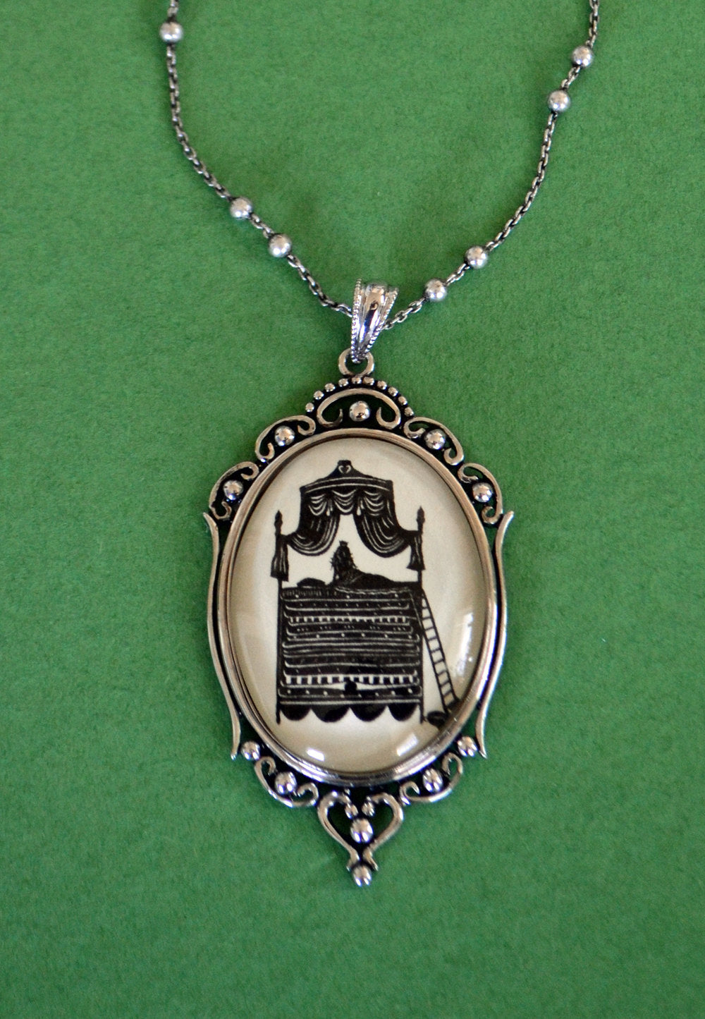 The PRINCESS and the PEA Necklace, pendant on chain - Silhouette Jewelry