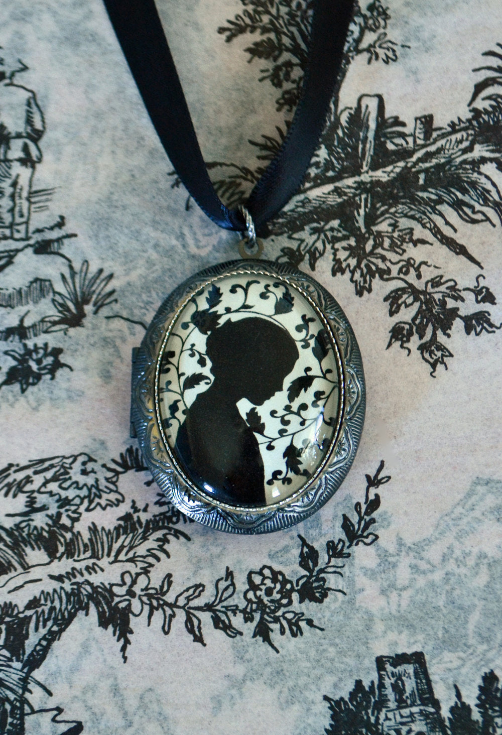 JANE EYRE Locket Necklace - locket pendant on ribbon - Silhouette Jewelry
