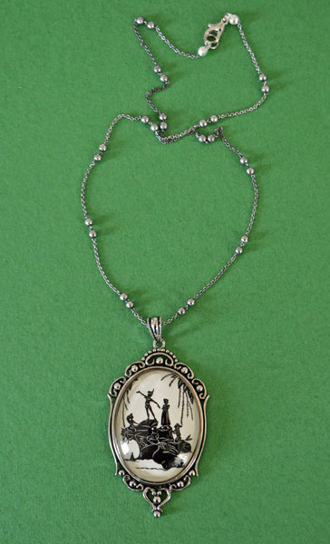 PETER PAN and the MERMAIDS Necklace, pendant on chain - Silhouette Jewelry