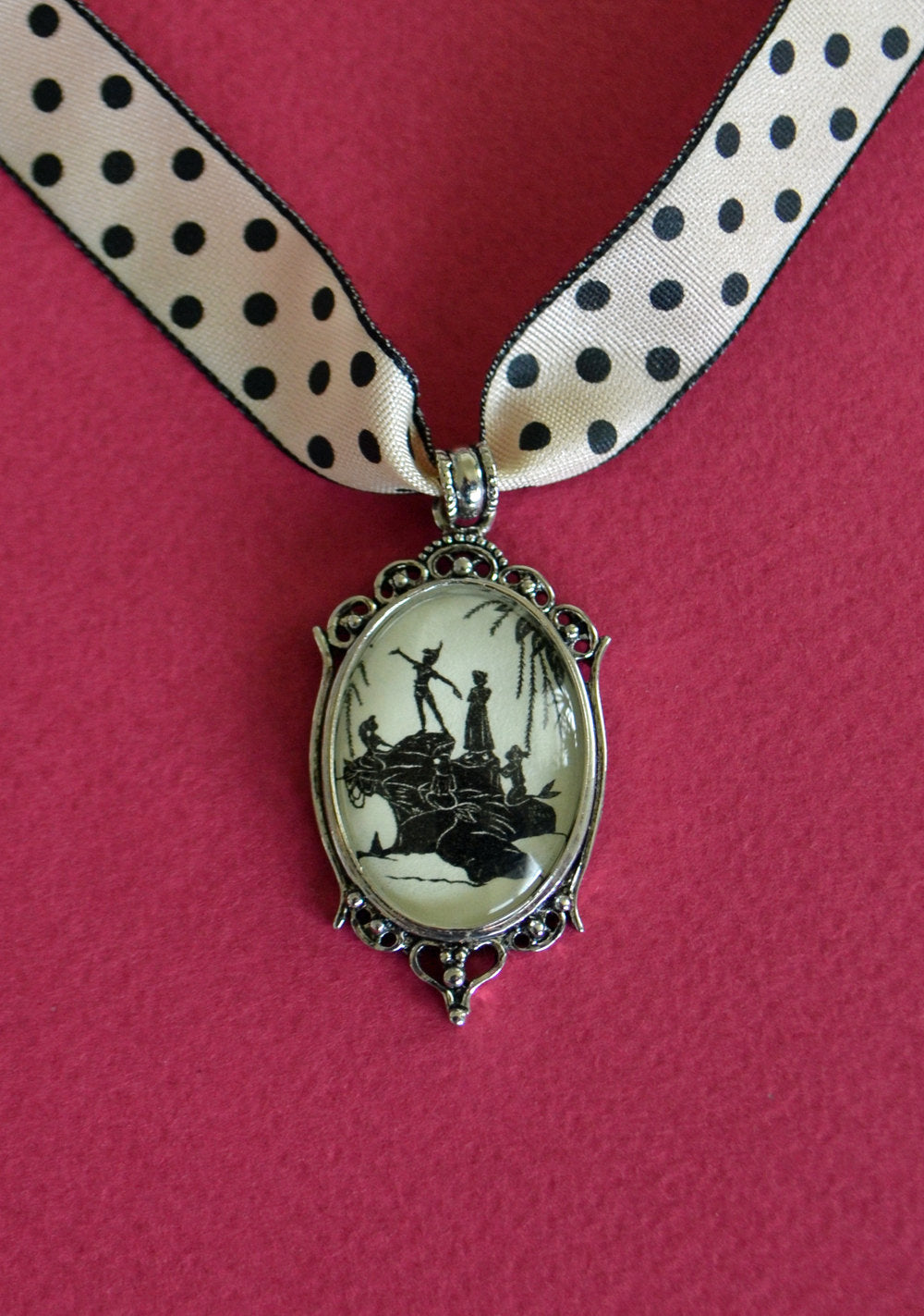 PETER PAN and the MERMAIDS Choker Necklace - pendant on ribbon - Silhouette Jewelry