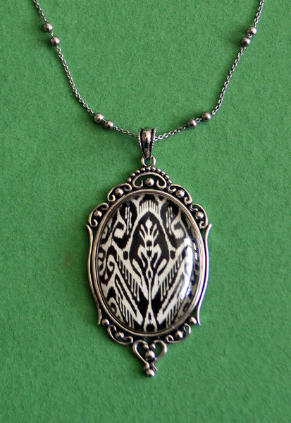 Ikat Necklace, pendant on chain
