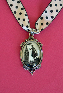 MARY POPPINS Choker Necklace, pendant on ribbon - Silhouette Jewelry