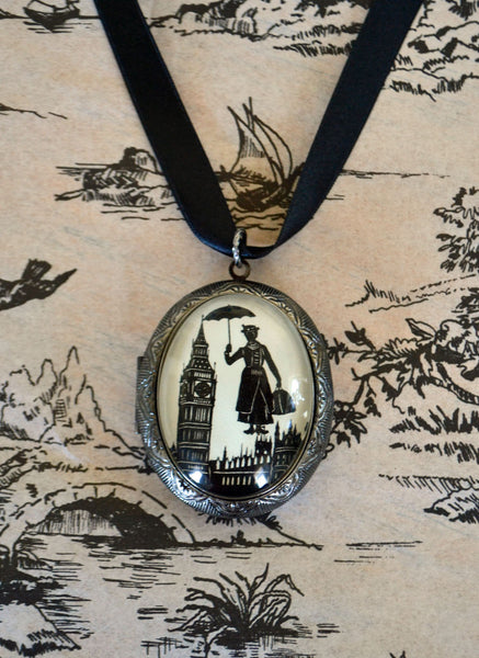 MARY POPPINS Locket Necklace - locket pendant on ribbon - Silhouette Jewelry