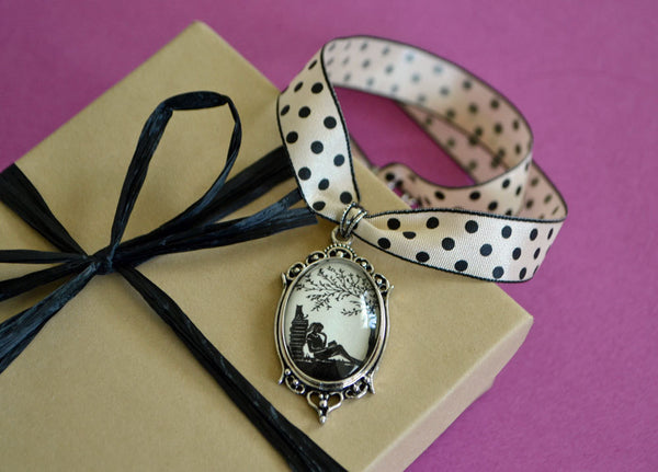 Silhouette Choker Necklace, Pendant on Ribbon - AFTERNOON READING in the PARK - Silhouette Jewelry