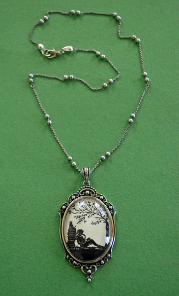 AFTERNOON READING in the PARK Necklace, pendant on chain - Silhouette Jewelry