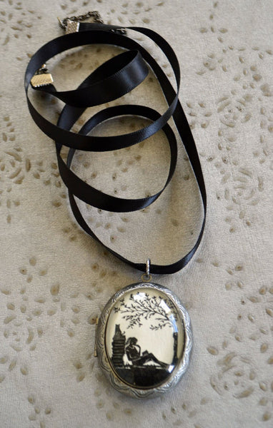 AFTERNOON READING in the PARK Locket Necklace - locket pendant on ribbon - Silhouette Jewelry