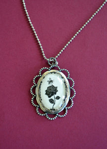 The BEE and The ROSE Necklace - pendant on chain - Silhouette Jewelry