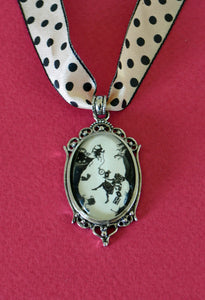 ALICE IN WONDERLAND Choker Necklace - Down the Rabbit Hole - pendant on ribbon