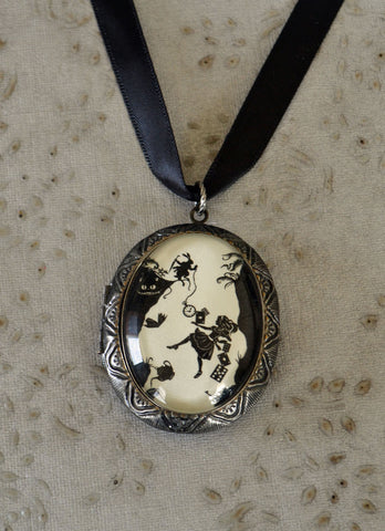 ALICE IN WONDERLAND Locket Necklace - Down the Rabbit Hole - pendant on ribbon - Silhouette Jewelry