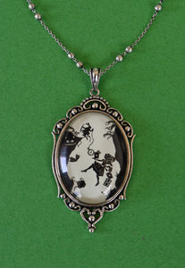 ALICE IN WONDERLAND Necklace - Down the Rabbit Hole, pendant on chain, Silhouette Jewelry