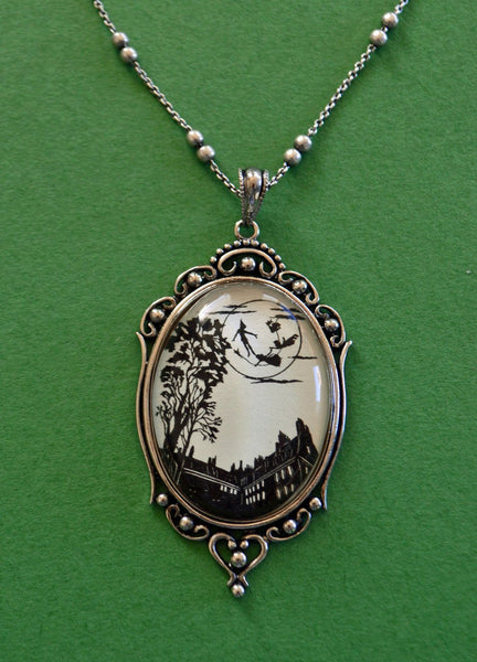 PETER PAN and the MOON Necklace, pendant on chain - Silhouette Jewelry