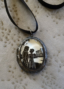 PRIDE AND PREJUDICE Locket Necklace, pendant on ribbon - Silhouette Jewelry