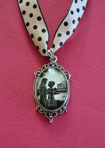 PRIDE AND PREJUDICE Choker Necklace - pendant on ribbon - Silhouette Jewelry
