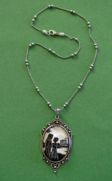 PRIDE AND PREJUDICE Necklace, pendant on chain - Elizabeth and Darcy - Silhouette Jewelry