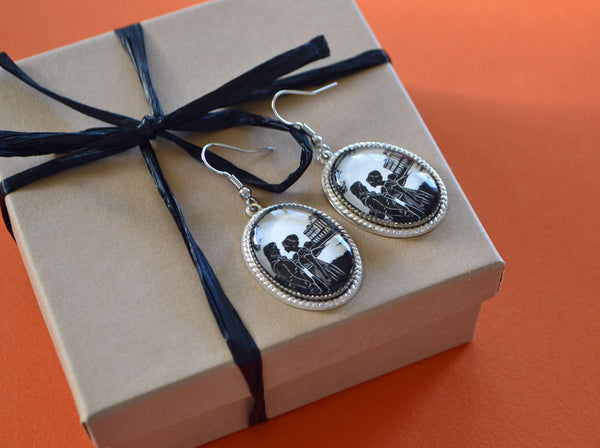 PRIDE AND PREJUDICE Earrings - Elizabeth and Darcy at Pemberley - Silhouette Jewelry