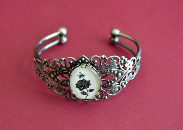 The BEE and the ROSE Bracelet - Silhouette Jewelry