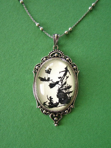 PETER PAN Necklace - pendant on chain - Silhouette Jewelry