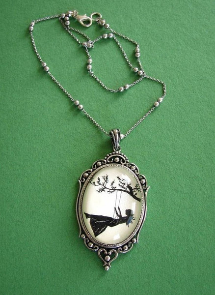 GIRL on a SWING Necklace - pendant on chain - Silhouette Jewelry