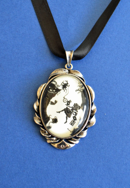 Alice in Wonderland - Down the Rabbit Hole Choker Necklace - pendant on ribbon