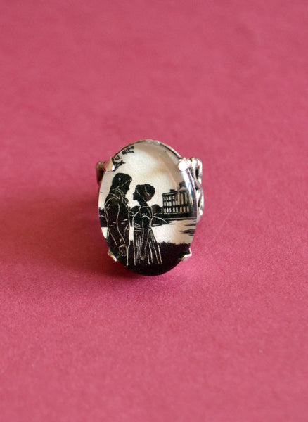 PRIDE AND PREJUDICE Ring - Elizabeth and Darcy at Pemberley - Silhouette Jewelry