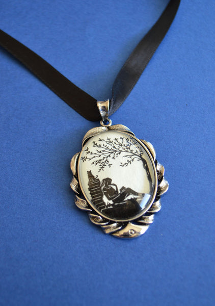 AFTERNOON READING in the PARK Choker Necklace - pendant on ribbon - Silhouette Jewelry