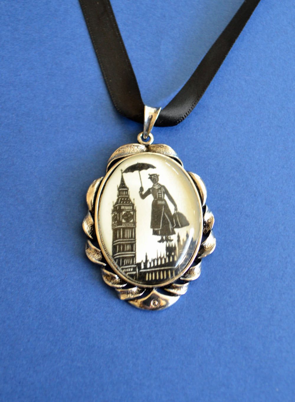MARY POPPINS Choker Necklace - pendant on ribbon - Silhouette Jewelry