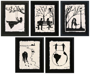LOVE STORY SERIES Papercuts - 5 Hand-Cut Silhouettes, Individually Framed