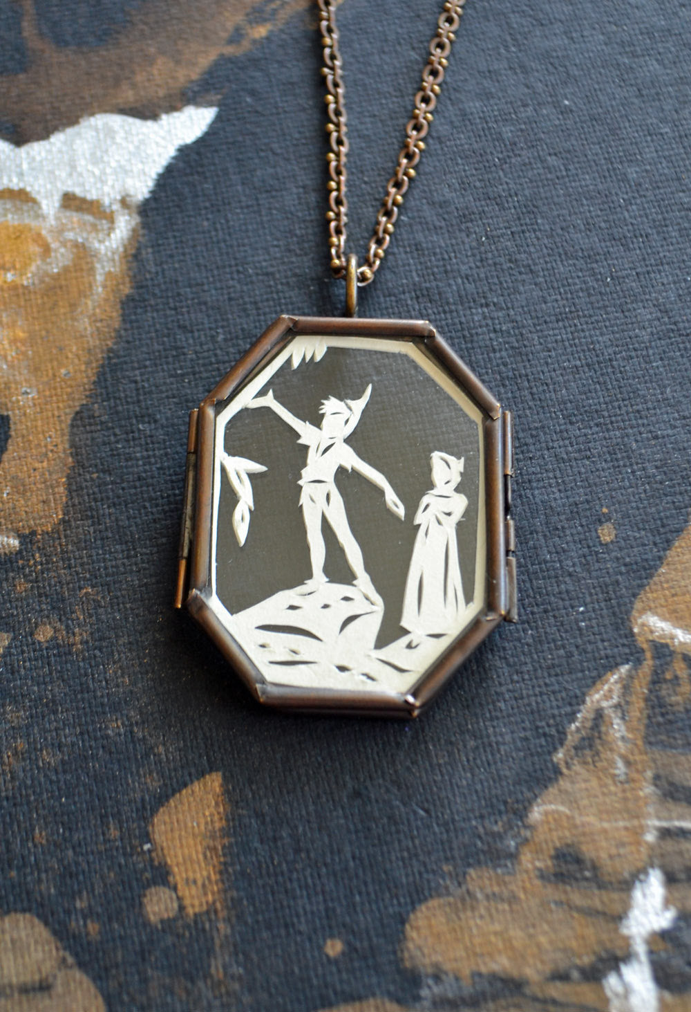 PETER PAN Locket - Hand-Cut Miniature Silhouette Papercut, Glass Locket Necklace