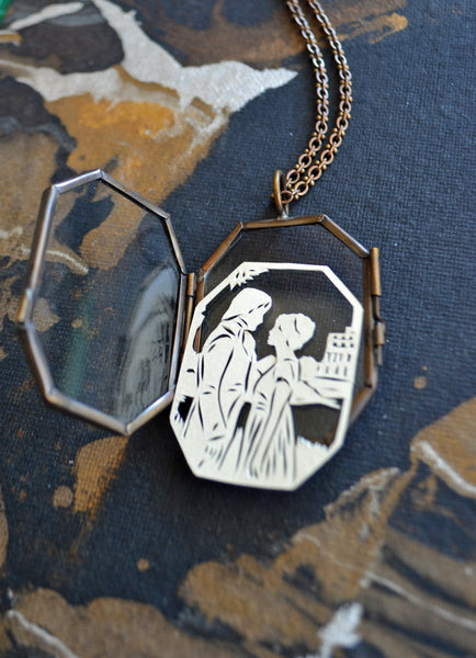 PRIDE AND PREJUDICE Locket - Hand-Cut Miniature Silhouette Papercut Locket Necklace