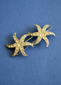 Vintage Two Star Rhinestone Hair Clip
