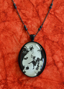 ALICE IN WONDERLAND Necklace - Down the Rabbit Hole, pendant on chain - Silhouette Jewelry