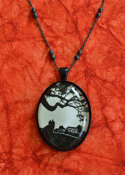 GONE WITH the WIND Necklace - pendant on chain - Silhouette Jewelry