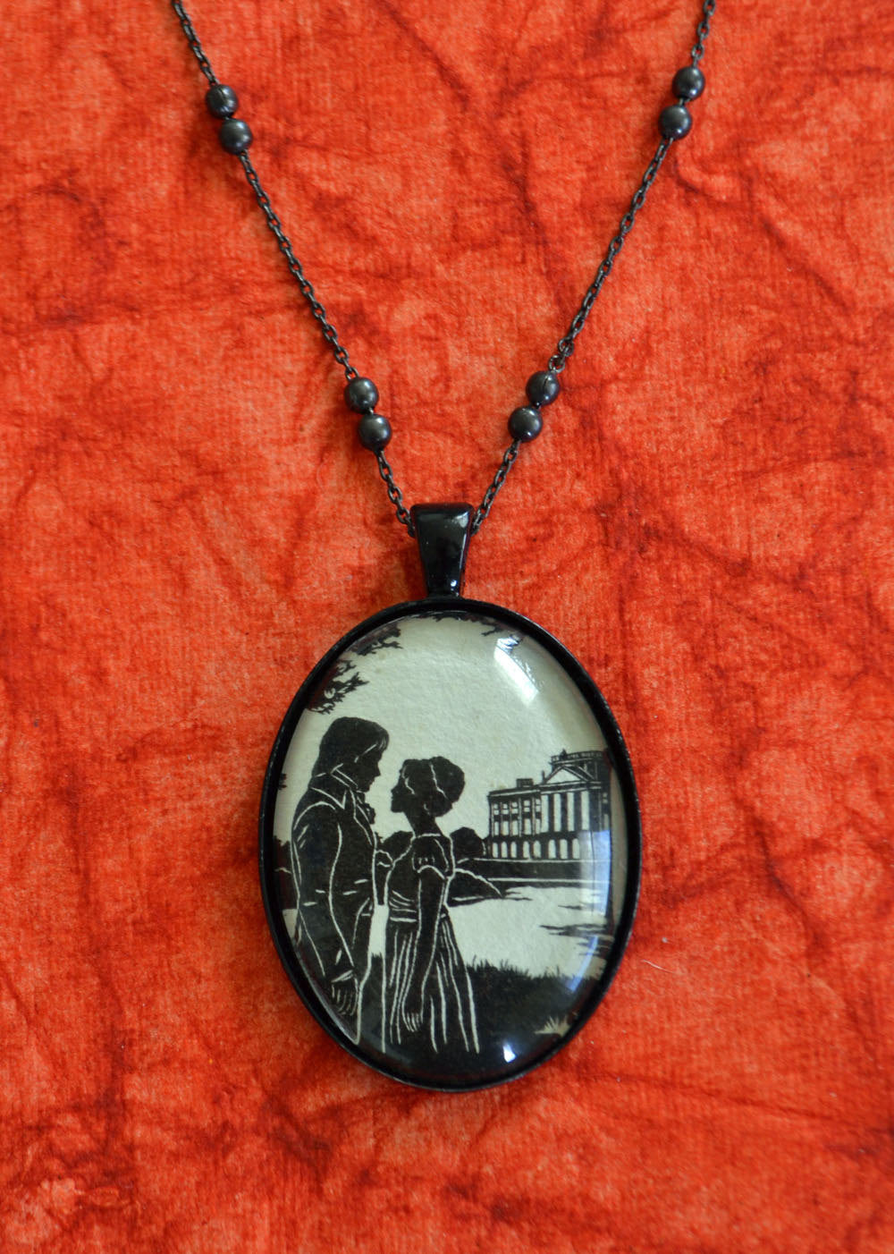 PRIDE AND PREJUDICE Necklace - Elizabeth and Darcy, pendant on chain - Silhouette Jewelry