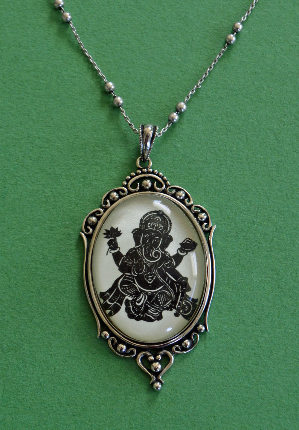 GANESH Necklace, pendant on chain - Silhouette Jewelry