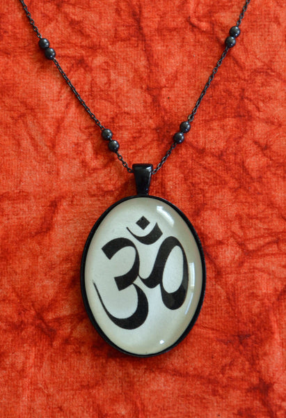 OM SYMBOL Necklace, pendant on chain - Silhouette Jewelry